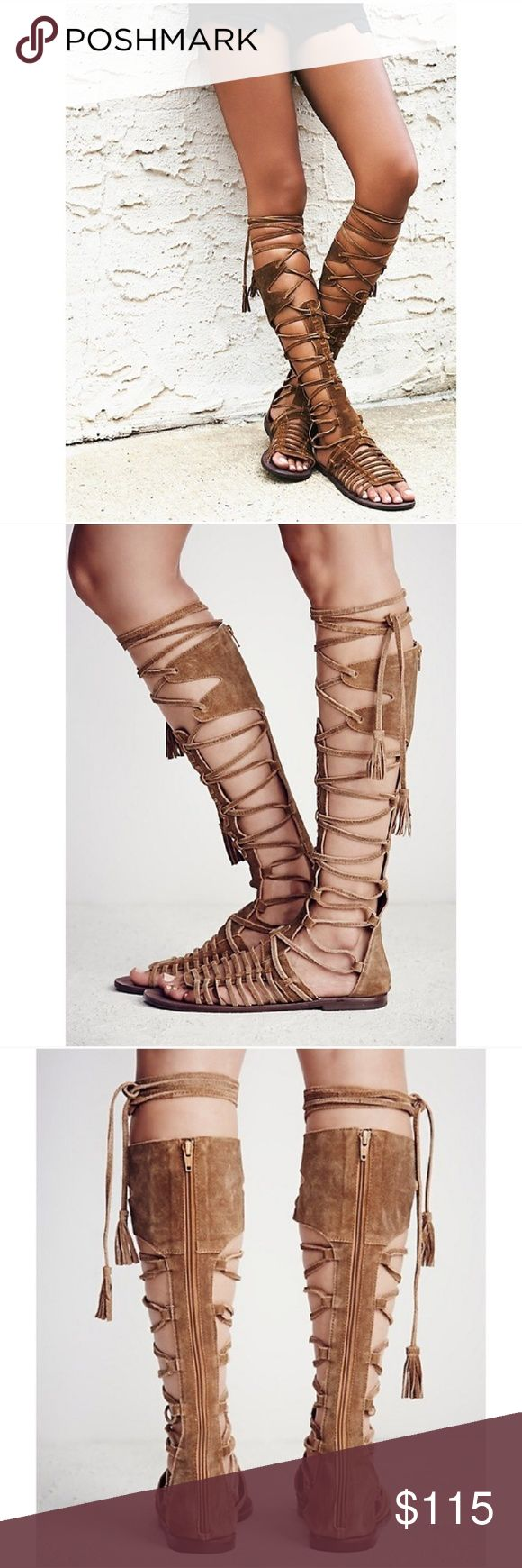 Free People Sun Seeker Tall Gladiator Sandal Sz 8 These Free People Sun Seeker Tall Sandals are strappy gladiator sandals in honey whiskey suede. They feature lace-up detailing up the front and a full zipper all the way up the back for an easy on/off. Excellent condition though the right toe shows some scuffing on the tip of the footbed (see pictures) - NEW with tags - no box. Size 8. Free People Shoes Sandals