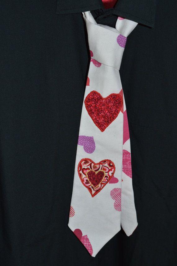 UNISEX Heart appliqued Valentine's tie.Lovely by macNmolesplace