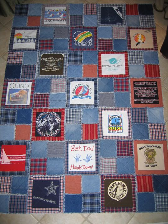 memory quilt with denim rag style..