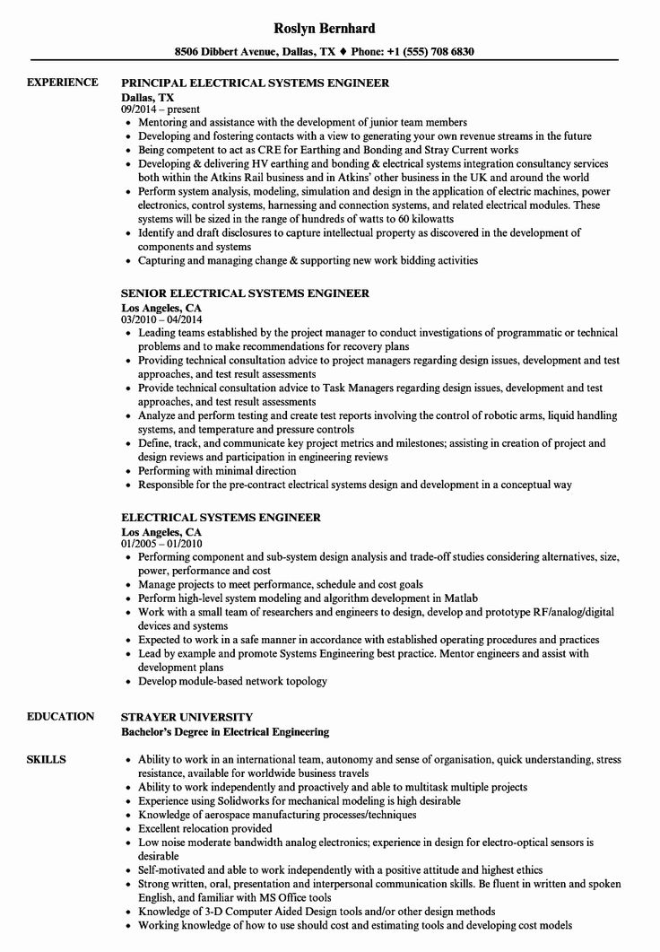System Engineering Resume Examples Awesome Electrical