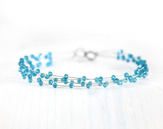 Голубой веночек Кристальный веночек Свадебный венец от ArsiArt