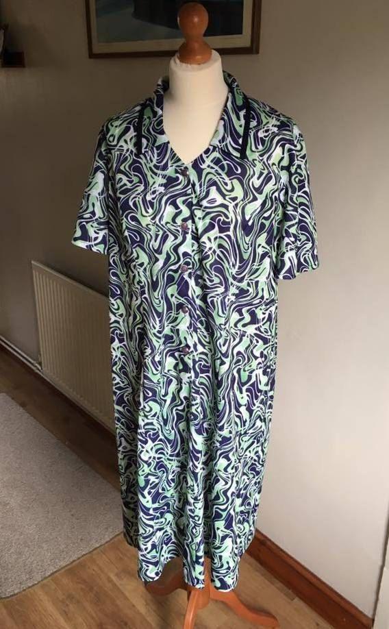 Vintage 1980s dress  white green blue  plus size 18/20