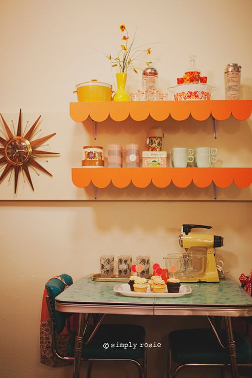 Add scallops to shelves in kids' rooms | Rhymes with Orange via Oh So Lovely Vintage via Simply Rosie Photography