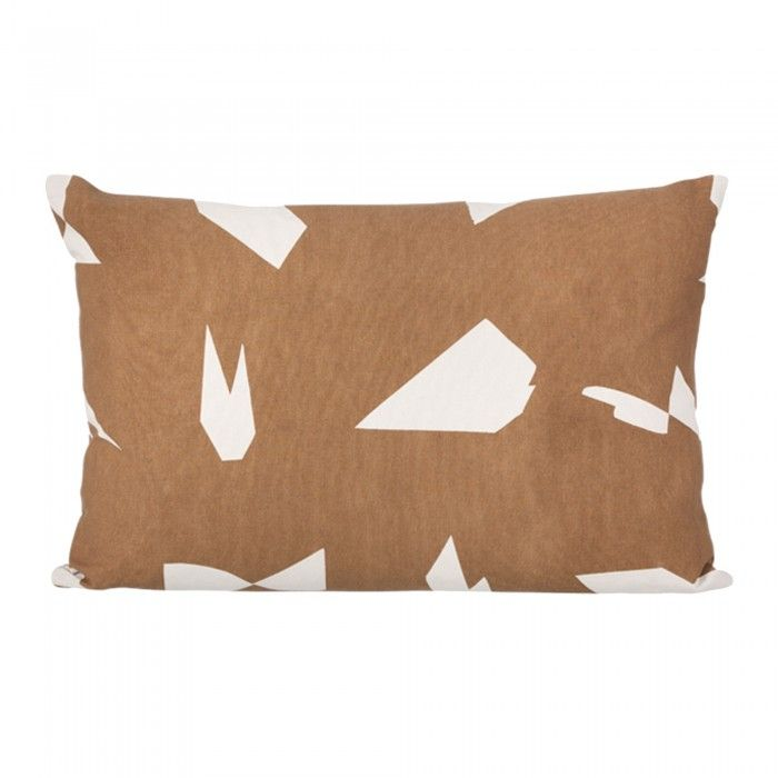 Cut brown rectangular cushion by Ferm Living made of 100% organic cotton canvas and printed by hand. Illustration by Alyson Fox. Decoration and contemporary furniture in Paris.