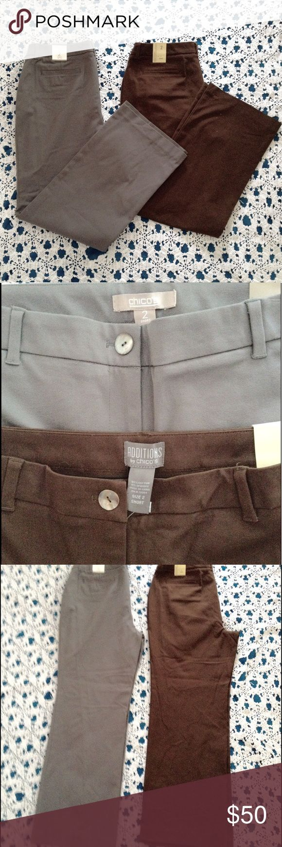 Cotton Chico's Grey and Brown Slacks Pants Bundle of 2 brown and gray, size 2 short, fabric  cotton and spandex new pants by Chico's. they both have mother of pearl button. Price is firm unless it's in a bundle. Chico's Pants