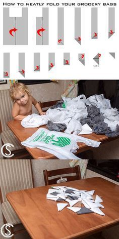 How to fold a grocery bag for space saving, and a way to occupy the kids for christmas break :)