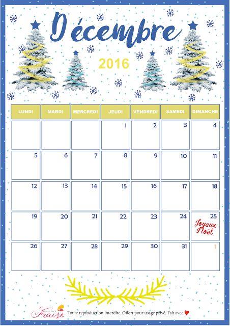CALENDRIER DIY DÉCEMBRE 2016 (free printable)