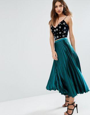 ASOS Midi Skirt in Pleated Satin