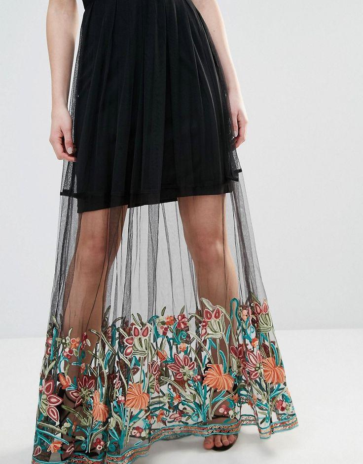 Image 3 ofBoohoo Petite Embroidered Hem Mesh Maxi Dress