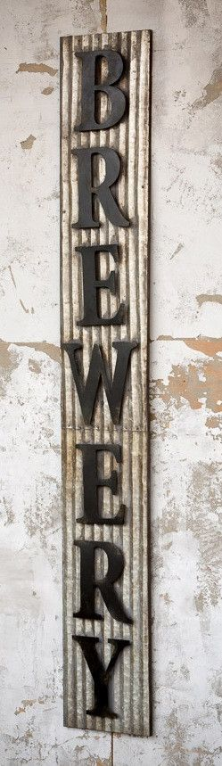 Vintage Metal Brewery Sign with Raised Letters and Corrugated Tin 70-in