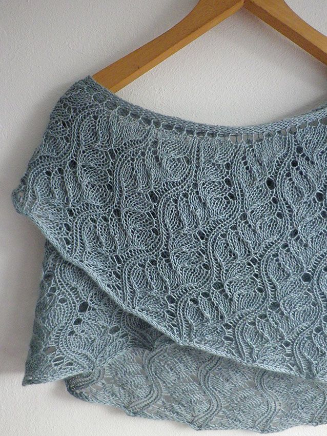 The second pattern in the e-book Knitting the Beach, Current is a crescent shaped shawl worked in an undulating lace pattern that resembles the current moving through water. The shawl grows quickly with increases worked on the edge of both right and wrong side rows. Three sizes are given in the pattern, with both written and charted instructions, and the shawl can be further adjusted by changing yarn weight or gauge.