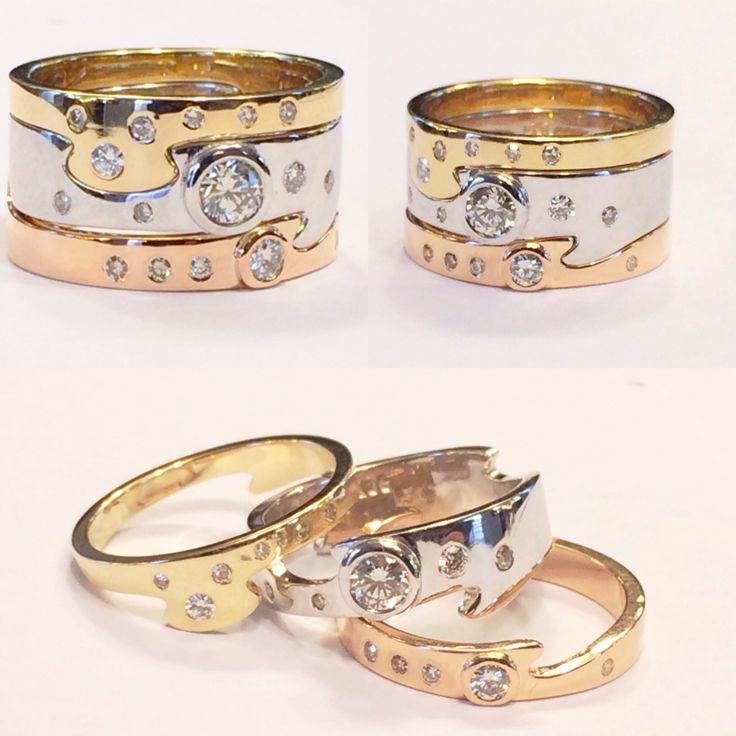 Recycled gold and diamond puzzle ring. Created entirely from our clients old,unworn or broken jewellery:) @orion_joel