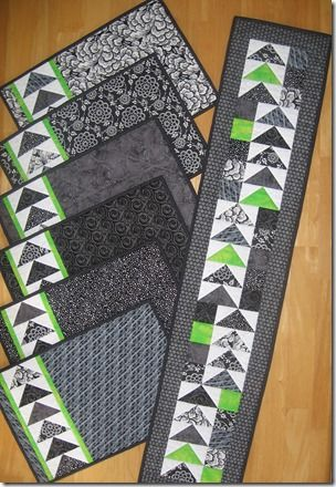 Geese Across the Table set - placemats and runner featuring flying geese and a dash of contrast. Pattern on Craftsy.com