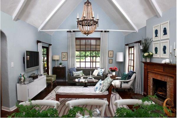 Emily Henderson: Wall Colors, Idea, Blue Walls, Front Rooms, Colors Palettes, Accent Colors, Families Rooms, Emily Henderson, Country Living Rooms