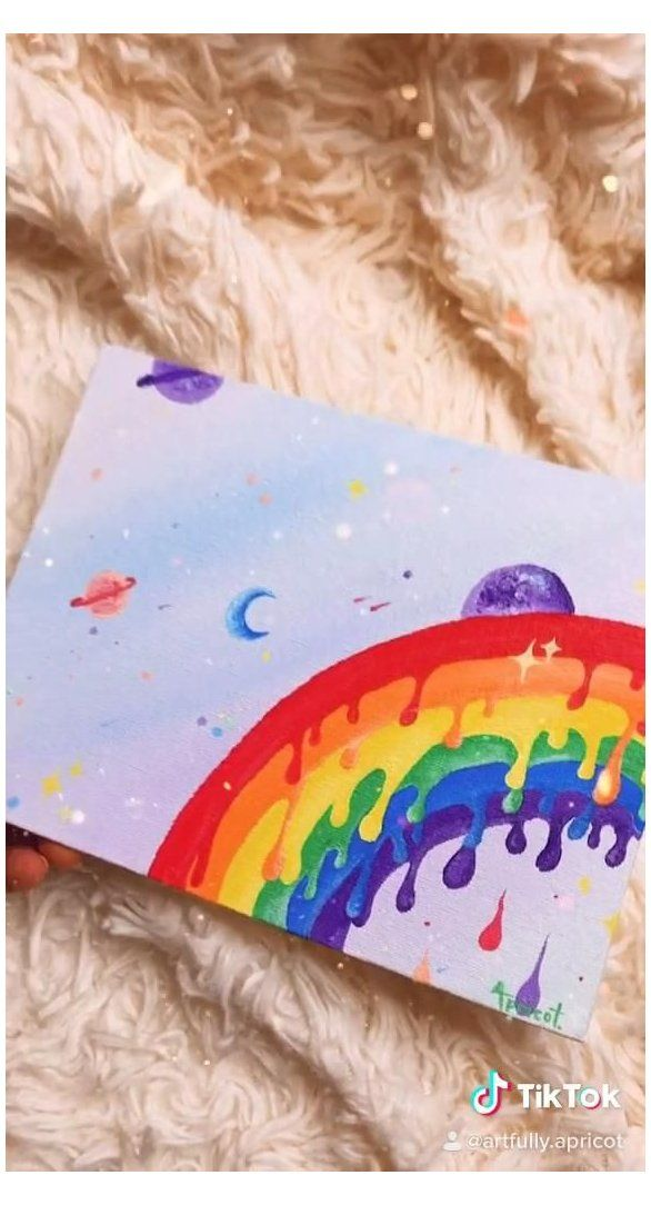 Trippy Drippy Rainbow Cool Painting Ideas On Canvas Trippy Easy Coolpaintingideasoncanvastrippy Diy Canvas Art Diy Canvas Art Painting Diy Art Painting
