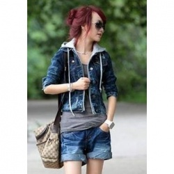 $13.07 Casual Single-Breasted Long Sleeve Hooded Jeans Jacket For Women. I WANT THIS