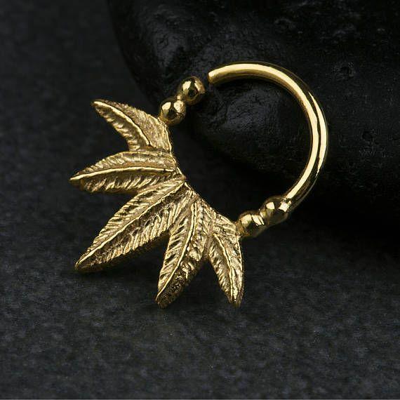 Palm φύλλα διαφράγματος Δακτύλιος Μύτη Ring σώματος Κοσμήματα 925 στερεό