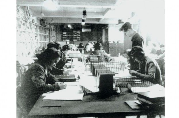 Code-breaking personnel at Bletchley Park, 1943. (Photo by Bletchley Park Trust/SSPL/Getty Images)