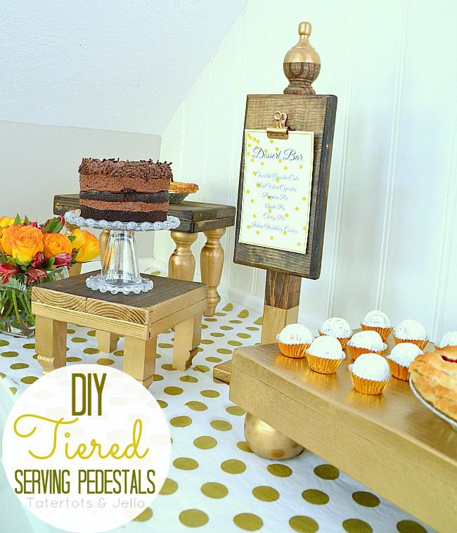Thanksgiving holidays include lots of parties. I love these easy DIY Wooden pedestals for serving your food. They are gold dip dyed tiered serving pedestals. It's an easy Thanksgiving idea and a cute Fall Craft idea for the holiday season.