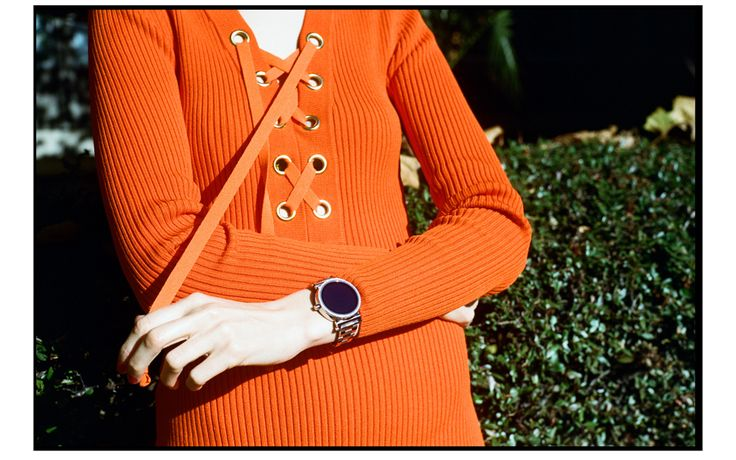 Michael kors orange ribbed lace up dress and silver sofie smart watch
