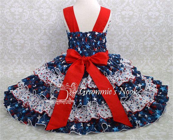 Las chicas del 4 de julio vestido vestido de blanco y azul
