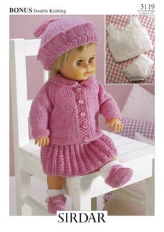"""Sirdar 3119 Doll's Outfit to fit doll height 12"""" to 22"""" uses #3/DK weight yarn."""