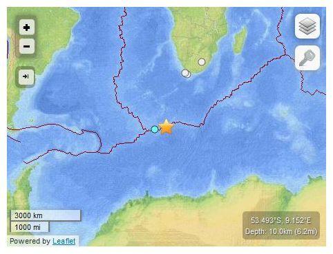6.9 magnitude earthquake strikes remote Bouvet Island in South Atlantic