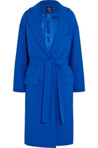 Fall and winter outfit. MCQ Alexander Mcqueen, blue Belted oversized crepe coat.