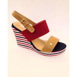 Scarpe sandalo camoscio rosso, camel e jeans blu con zeppa a righe e fibia dorata N 38