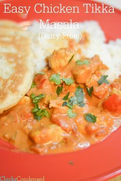 An easy chicken tikka masala recipe that is dairy free, family friendly, and delicious. Also a Low FODMAP recipe. Our whole family devoured this!