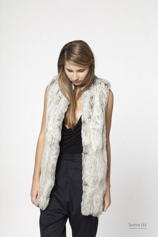 silver-white rabbit fur vest – horovitz