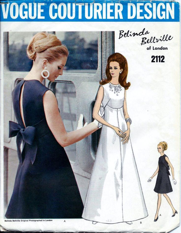Vogue 2112 Vintage 1960s Vogue Couturier BELINDA BELLVILLE di Londra vestito da sera o Abito da sposa modello di cucito.  Modello 2112 è stato tagliato ed è completa.  Taglia 10 che si adatta un busto 32 1/2 e unanca 34 1/2.