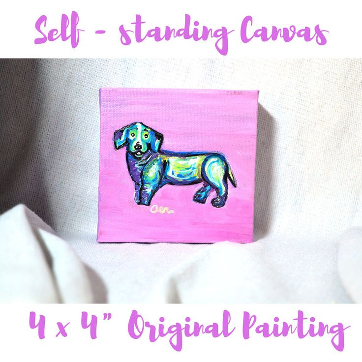 Small Purple Dachshund painting, Original canvas acrylic painting, dog wall art, dog lover gift, gift for her, home decor, weenie dog lover
