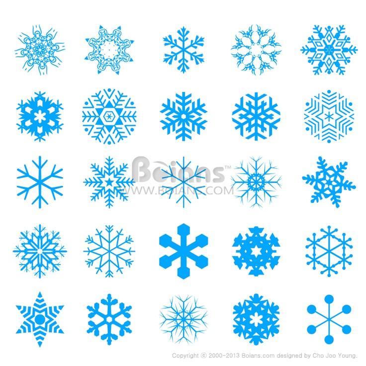 눈 결정 모양 아이콘 세트. 크레이티브 아이콘 디자인 시리즈 (ICON020014) Snow