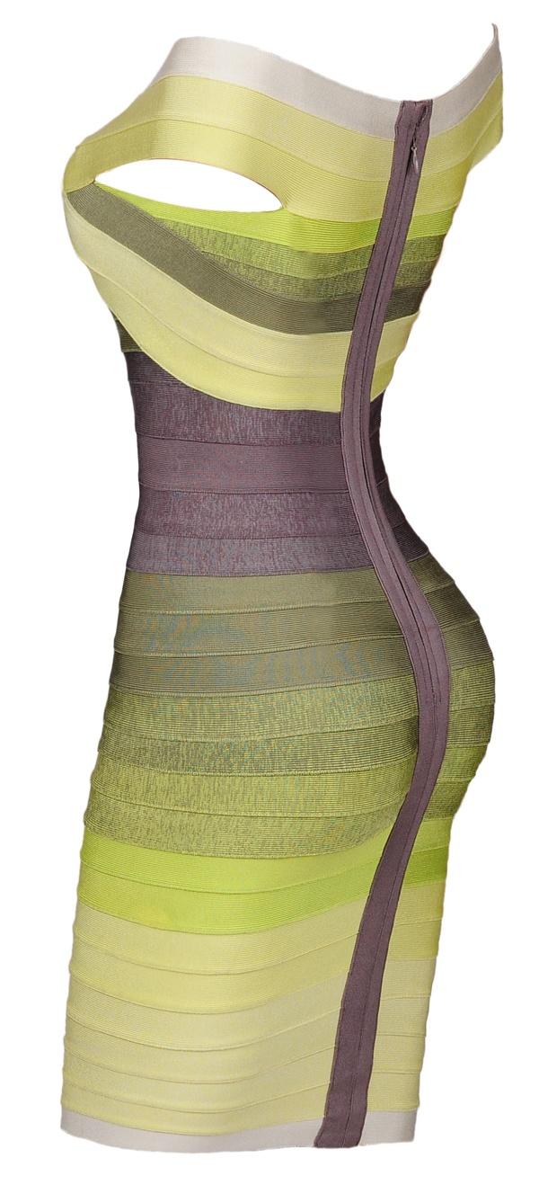Celeb Boutique: Bandage Bodycon Dresses: ''Rosie' Green Gradient Off - Shoulder Body Con Bandage Dress