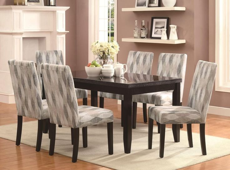 Newbridge 7 Pc Cappuccino Dining Table Set With Multicolor Print Fabric Chairs CoasterFurniture