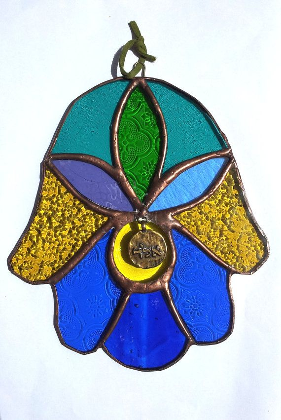 Stained Glass Hamsa Morrocan Style Free Shipping by Silvinadesigns, $50.00