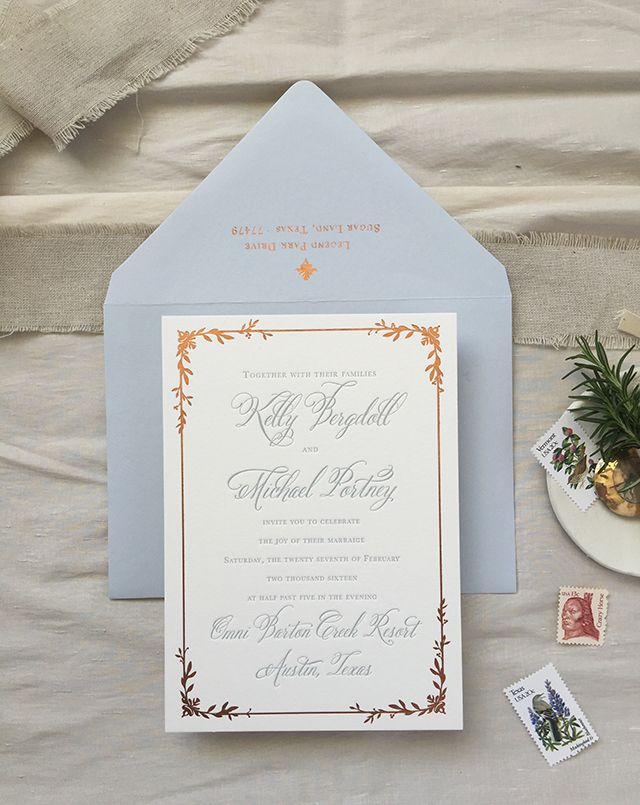 Dusty Blue Letterpress and Copper Foil Wedding Invitations - Beautiful but too much in the end, letters are too large