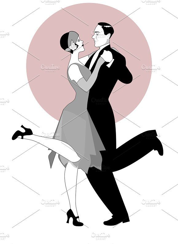 Elegant couple dancing Charleston-2 by La Inspiratriz on @creativemarket