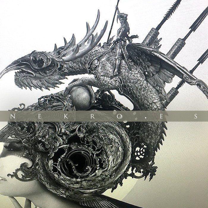 """540 Me gusta, 4 comentarios - Nekro (@nekroxiii) en Instagram: """"wip! Imagine Dragons #nekro #art #illustration #xiii #dragon"""""""