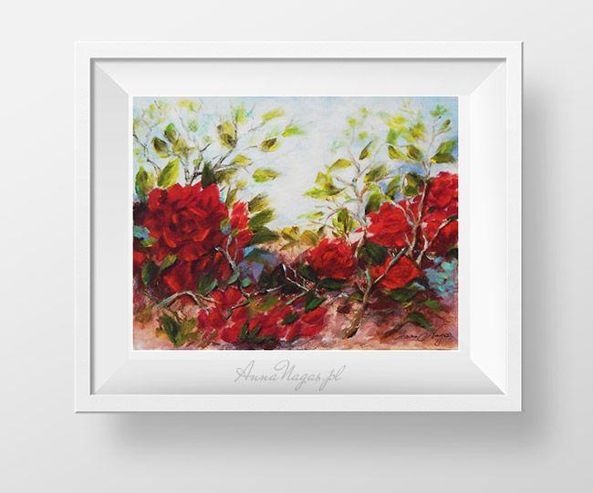 http://AnnaNagas.pl Krzak purpurowych róż - obraz akrylowy.  róże, róża, purpurowe, obraz, akrylowy, ręcznie malowany, kwiaty, natura, malarstwo, obraz do salonu, obraz na ścianę, wystrój wnętrz, dekoracje