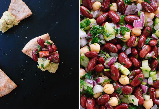 pita chips with hummus and bean salad