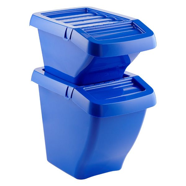 Our Recycling Bins have angled fronts to allow access to all the bins, even when stacked. The hinged lid allows you to open the bin while stacked - it can stay open for easy access when they are not stacked. Create color-coded storage or recycling or use the included labels (Plastics, Paper and Glass) to ensure your recycling is sorted properly.