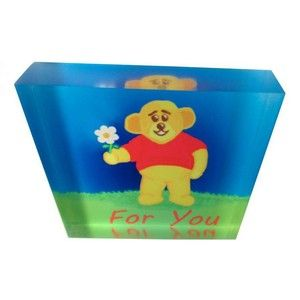 Acrylic Art Block - For You (Daisy Bear) - A lovely gift.  The image is printed directly onto the back of a 90mm x 90mm x 20mm acrylic photo block, from Chelsea Design NZ.