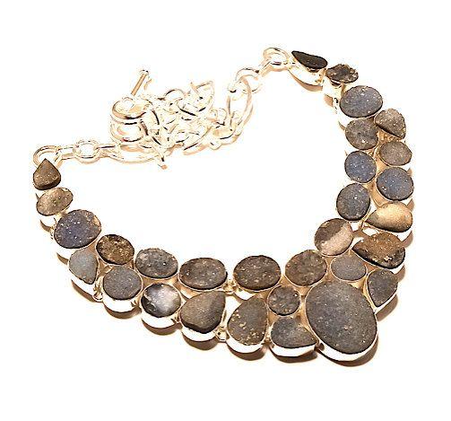 925 Sterling Silver Sparkling Cluster Drusy Geode Genuine Gemstone in Tones of Black, Gray, Lavender, Sand Astonishing Bib Necklace!! by Ameogem on Etsy
