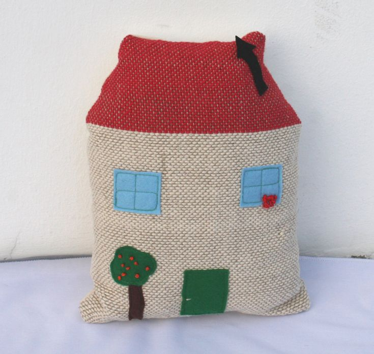 Handwoven house, pillow, plush by ERGANIweaving on Etsy