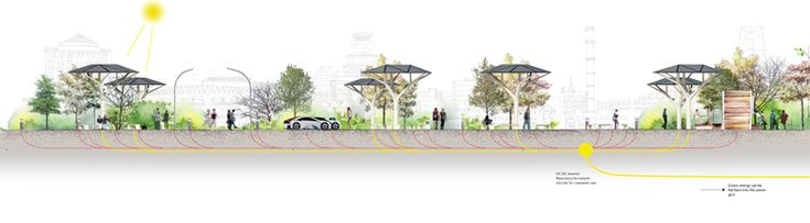 'nature' solar shelter by samuel wilkinson doubles as electric car charge port