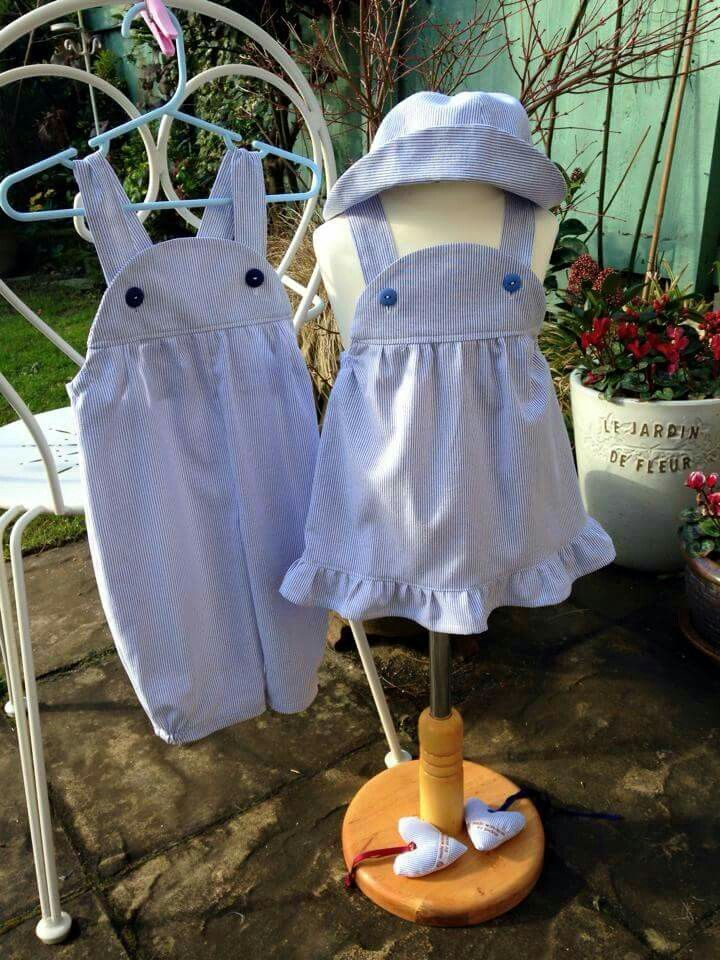 Very soft chambray ticking dress and dungarees with matching hat (monica and monty designs)