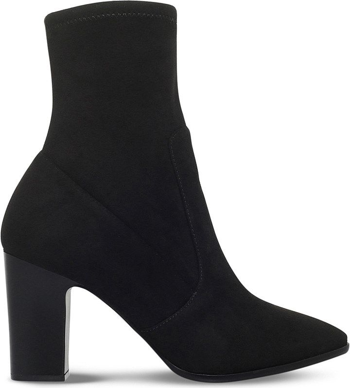 These Sadiah boots are a contemporary take on the classic ankle boot with  their sleek pointed toe and towering block heel. Crafted from fabric with a  little ...