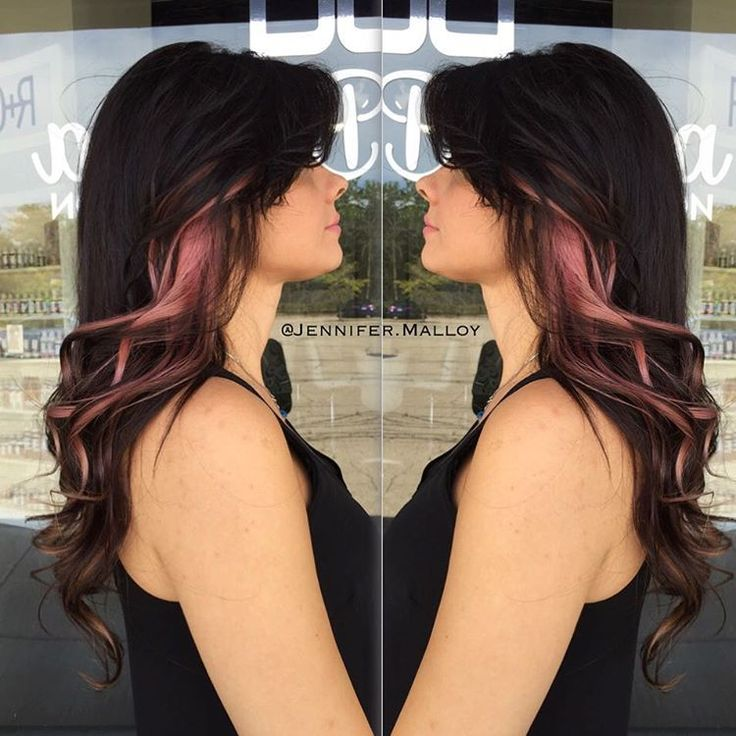 Here's a side view. Deep Brown Base with Rose-Gold Peek-a-Boo Hilites. This is such a low maintenance color & a fun way to try out vivid colors without feeling overwhelmed. These colors fade out to a beautiful blonde that we can just let be, or try a new color out on! Color by myself, Styled by Fallon. Come see me @PeterDeLucaSalon 847-788-0933 for appointments